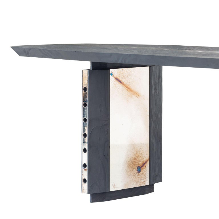 Burnished Burned Antique Oak and Stained Silver Metal Inserts  Spinzi Design Planar Table For Sale