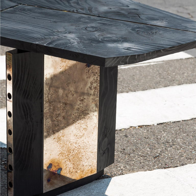 Contemporary Burned Antique Oak and Stained Silver Metal Inserts  Spinzi Design Planar Table For Sale