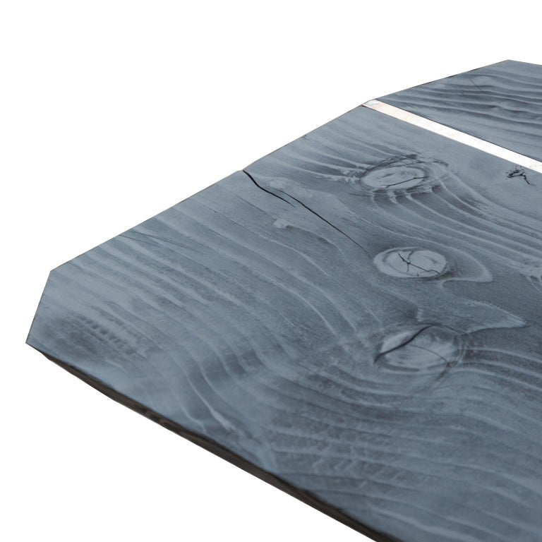 Steel Burned Antique Oak and Stained Silver Metal Inserts  Spinzi Design Planar Table For Sale