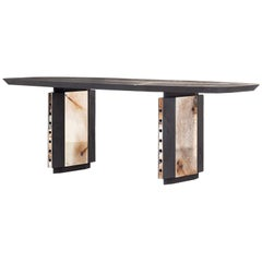 Burned Antique Oak and Stained Silver Metal Inserts  Spinzi Design Planar Table