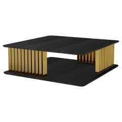 Burned Oak and Solid Brass Coffee Table, Gilded Plateau by NONO