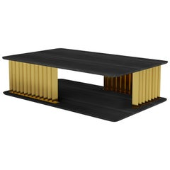 Burned Oak and Solid Brass Rectangular Table, Gilded Plateau by NONO