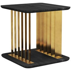 Burned Oak and Solid Brass Side Table, Gilded Plateau by NONO