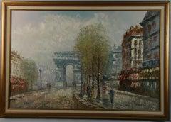Impressionist Oversized  Paris Street Scene oil Painting