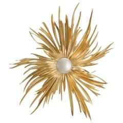Burning Star Mirror in Solid Mahogany Wood