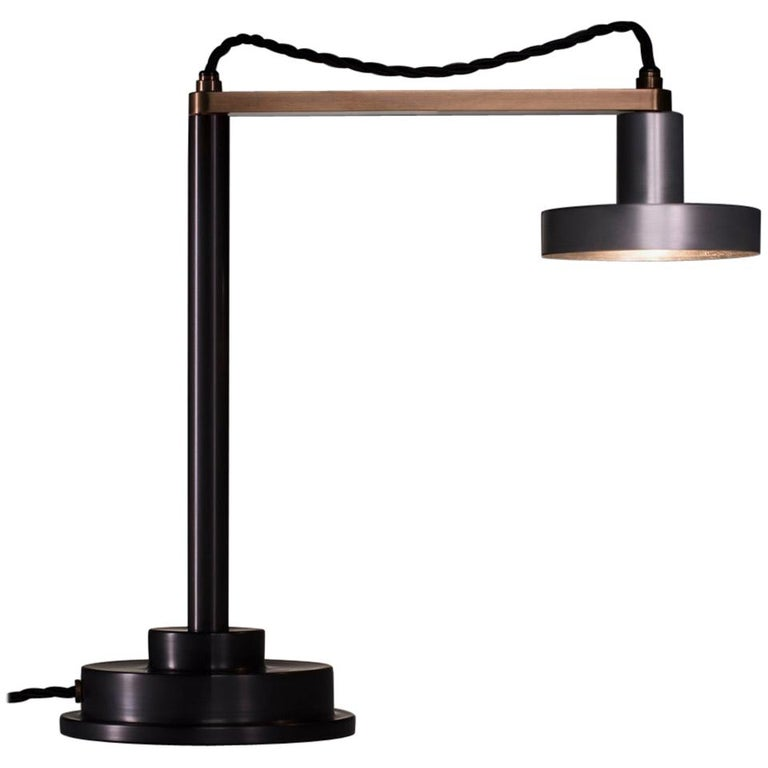 Burnished Aluminum Task Table Lamp with Steel Base and Brass Arm For Sale