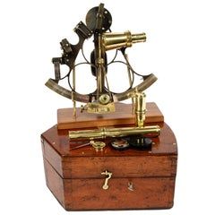 Burnished Brass Sextant Made in the Second Half of the 19th Century