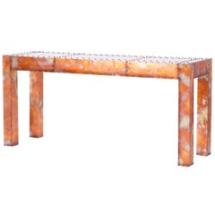 Burnished Copper Console Table