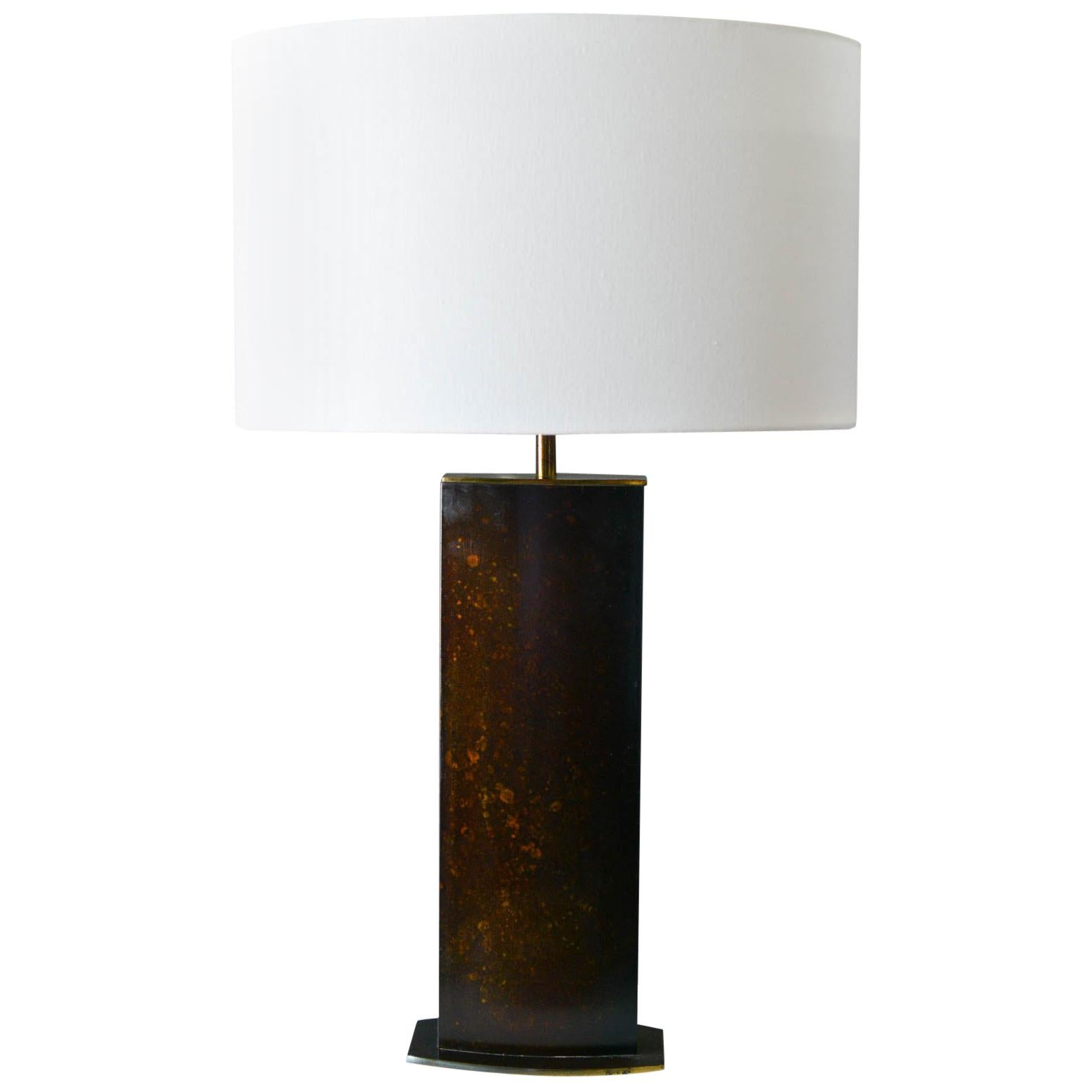 Burnished Leather and Brass Oval Table Lamp, circa 1970