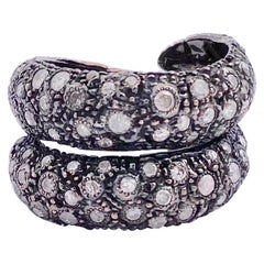 "Contemporary 18 kt Gold 2.25 karat Grey Diamonds ""Rope"" Cocktail Design Ring"