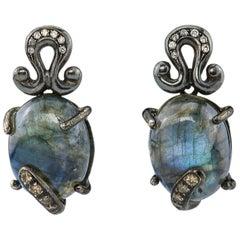 Ugolini Burnished Silver Labradorite 0.18 Karat Grey Diamonds Dangle Earrings