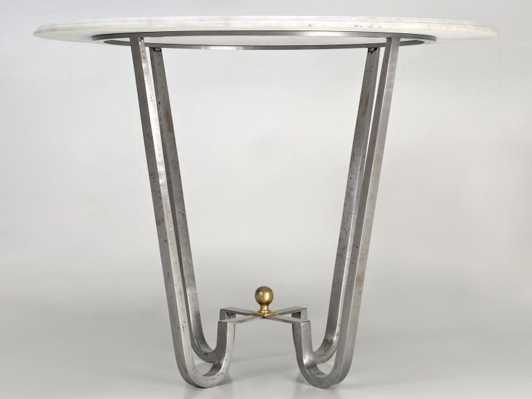 Mid-Century Modern Burnished Steel Center Hall Table or End Table Made to Order For Sale