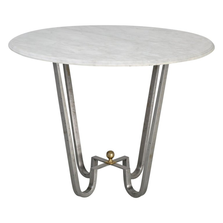 Burnished Steel Center Hall Table or End Table Made to Order For Sale