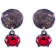Handcrafted Ugolini Burnished Sterling Silver Lacquer Red Quartz Dangle Earrings