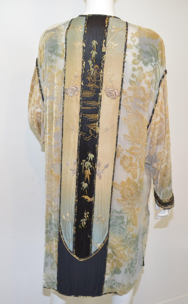 Brown Burnout Velvet Duster with Rose Embroidery Detail For Sale