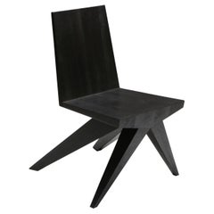 Burnt and Waxed Black V-Dining Chair by Arno Declercq