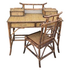 Burnt Bamboo Chinoiserie Desk and Chair