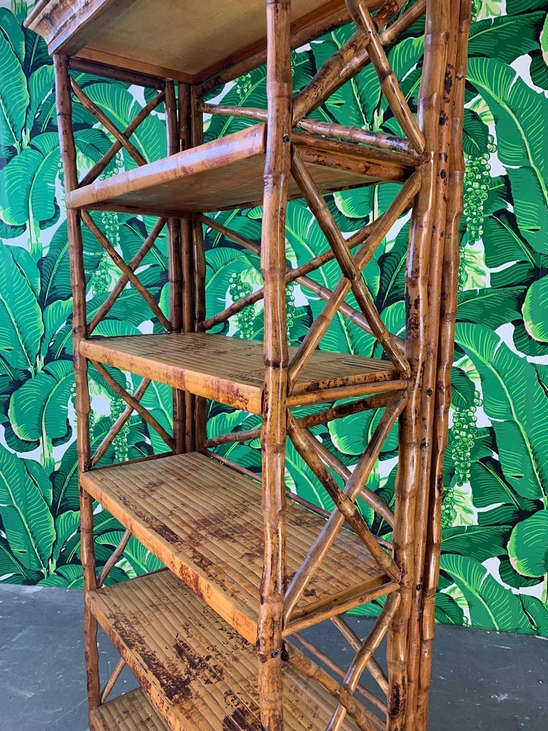 Hollywood Regency Burnt Bamboo X Stretcher Etagere For Sale