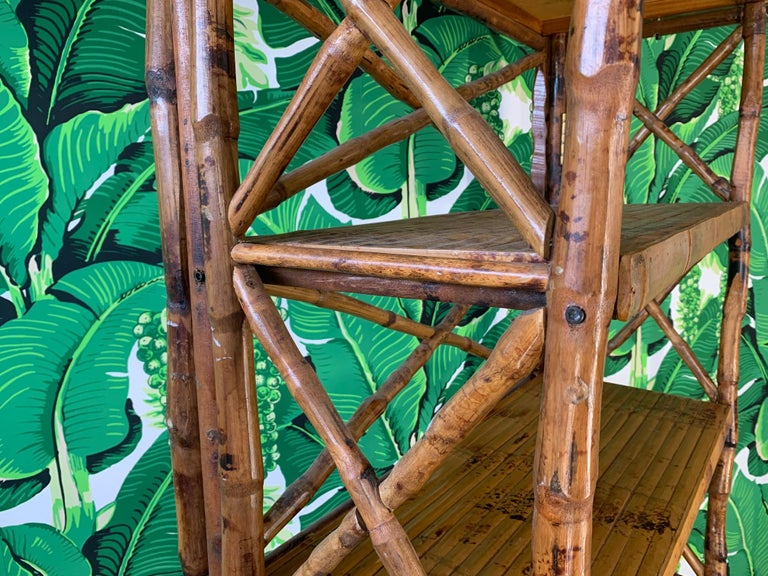 Burnt Bamboo X Stretcher Etagere In Good Condition For Sale In Jacksonville, FL