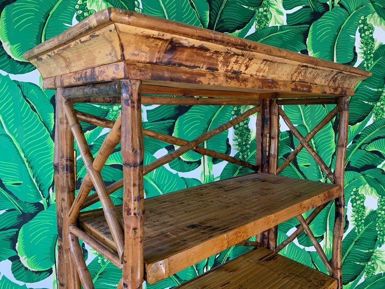 Late 20th Century Burnt Bamboo X Stretcher Etagere For Sale