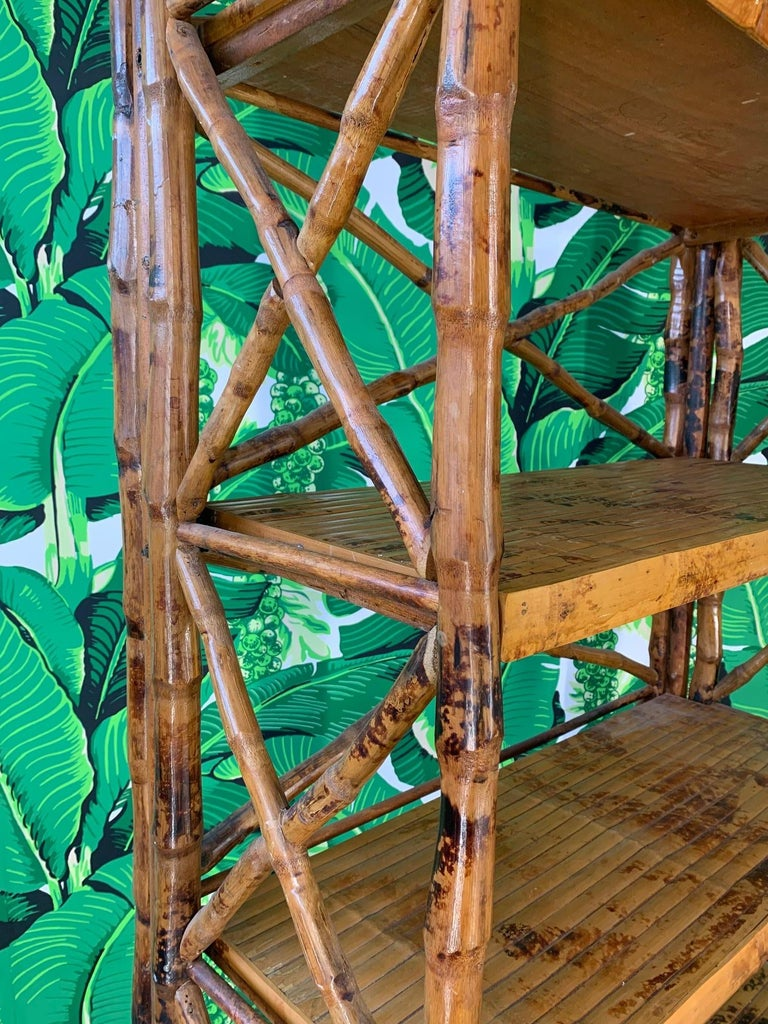 Burnt Bamboo X Stretcher Etagere For Sale 1