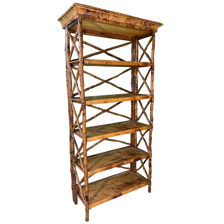 Burnt Bamboo X Stretcher Etagere For Sale