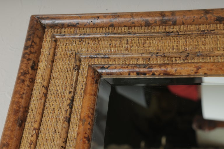 Burnt Bamboo Mirror In Good Condition In West Palm Beach, FL
