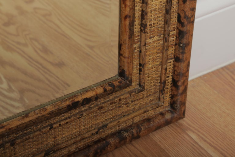 20th Century Burnt Bamboo Mirror