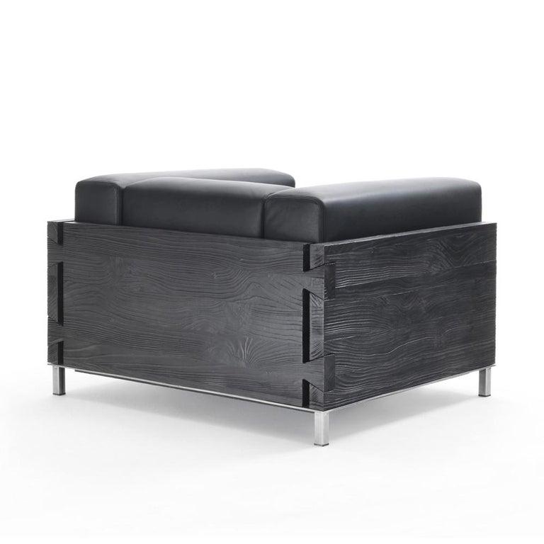 Italian Burnt Cedar Square Armchair with Black Genuine Leather For Sale