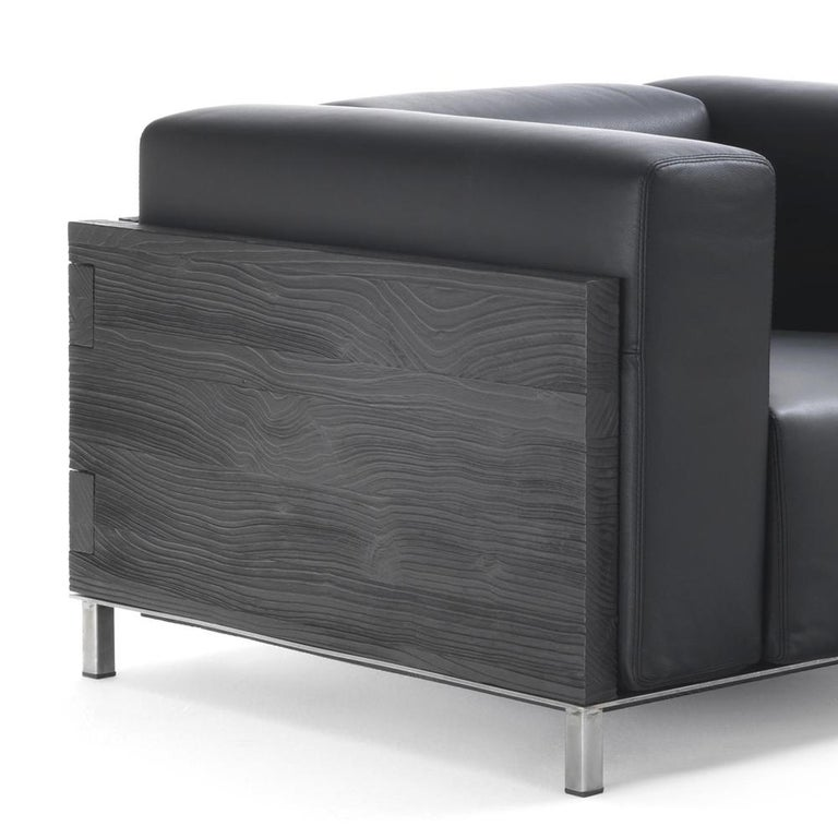 Blackened Burnt Cedar Square Armchair with Black Genuine Leather For Sale