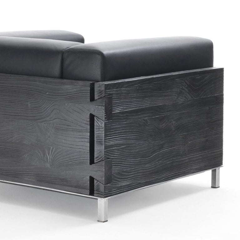 Burnt Cedar Square Armchair with Black Genuine Leather In New Condition For Sale In Paris, FR