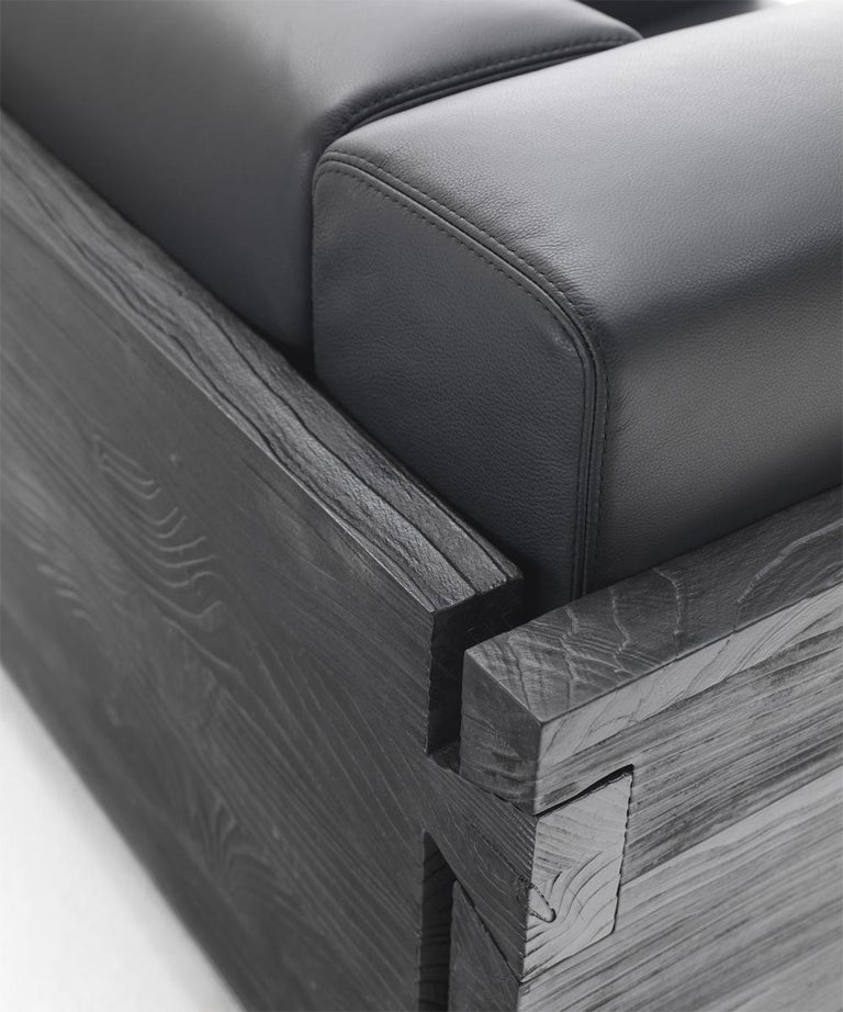 Contemporary Burnt Cedar Square Armchair with Black Genuine Leather For Sale