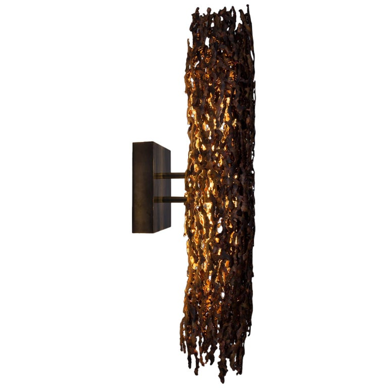 Burnt Copper Form Sconce, Closed Narrow Form For Sale