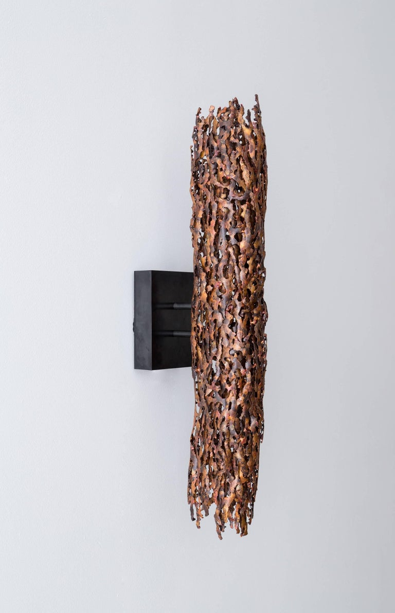 Burnt Copper Form Sconce, Closed Narrow Form For Sale 2