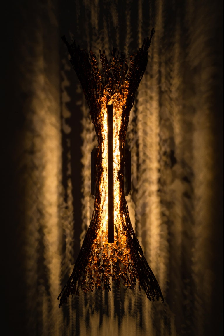 Modern Burnt Copper open form sculptural LED Sconce (can be horizontal or vertical) For Sale