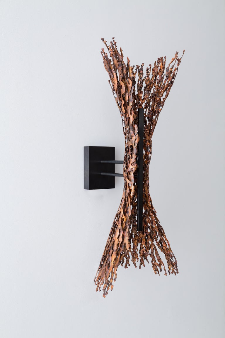 American Burnt Copper open form sculptural LED Sconce (can be horizontal or vertical) For Sale