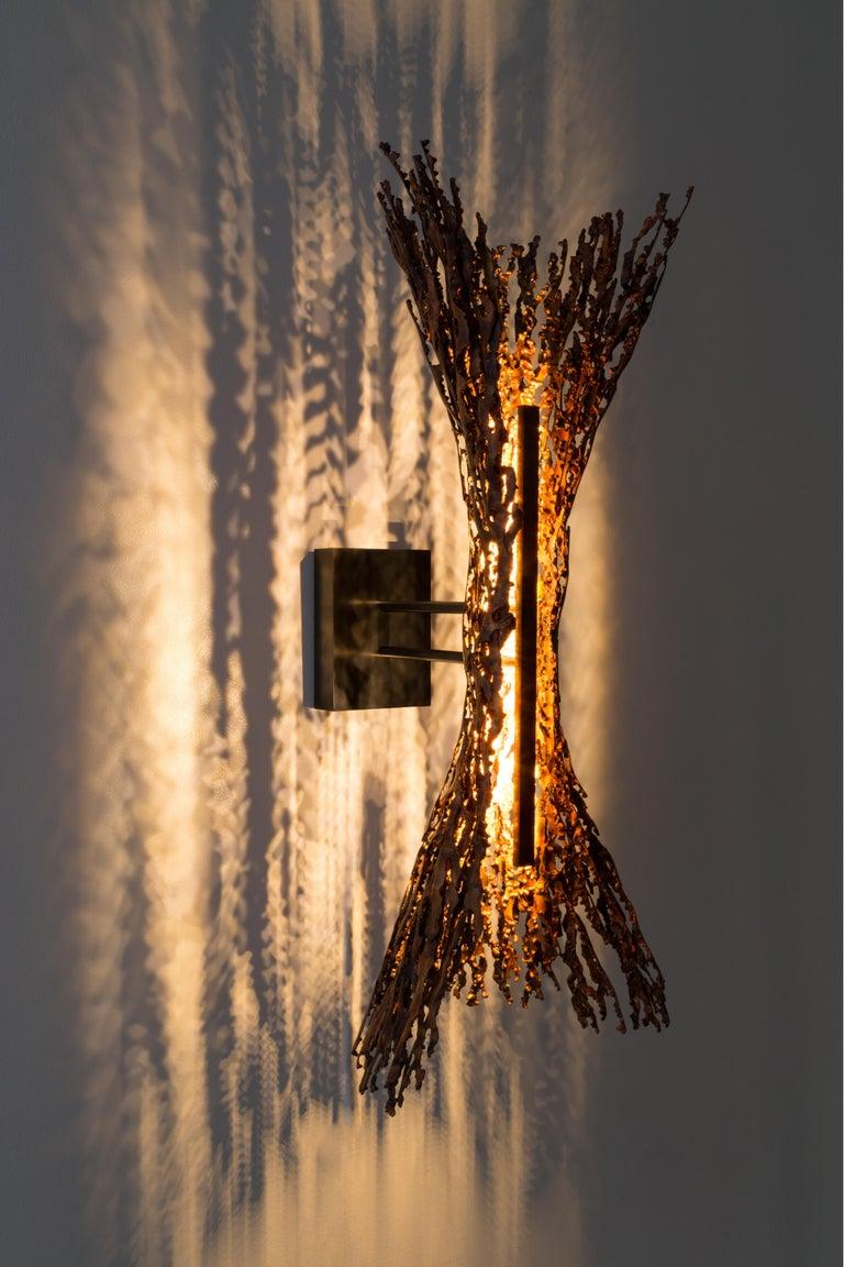 Gilt Burnt Copper open form sculptural LED Sconce (can be horizontal or vertical) For Sale