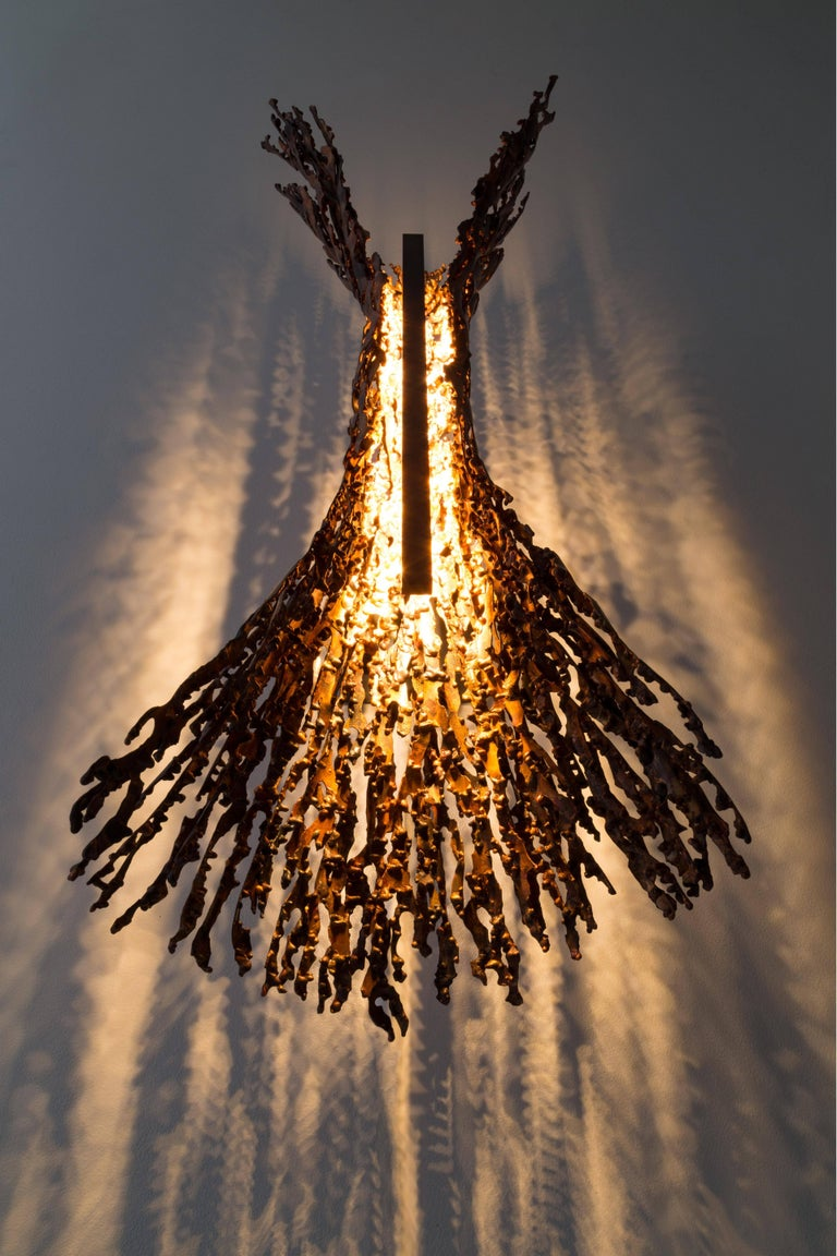 Burnt Copper Form Sconce, Spreading, Wall Sculpture For Sale 3