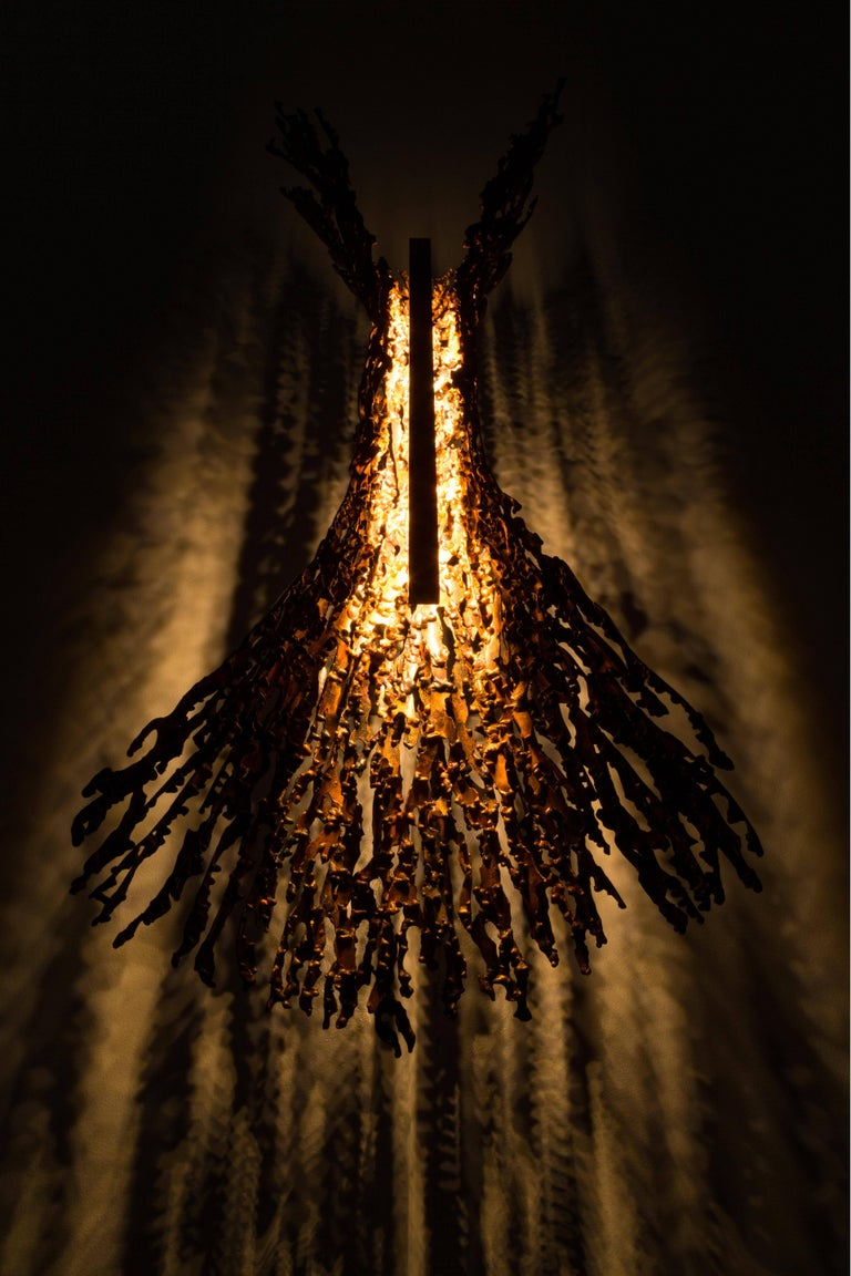 Burnt Copper Form Sconce, Spreading, Wall Sculpture For Sale 4