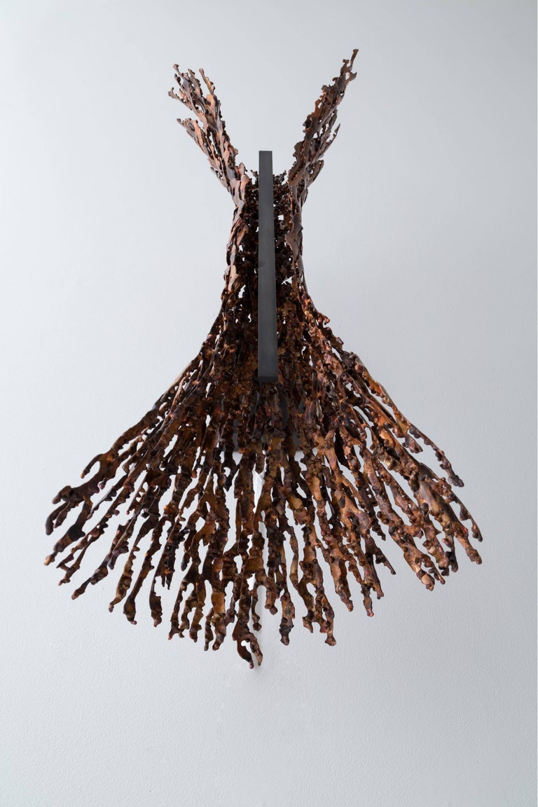 Burnt Copper Form Sconce, Spreading, Wall Sculpture For Sale 5
