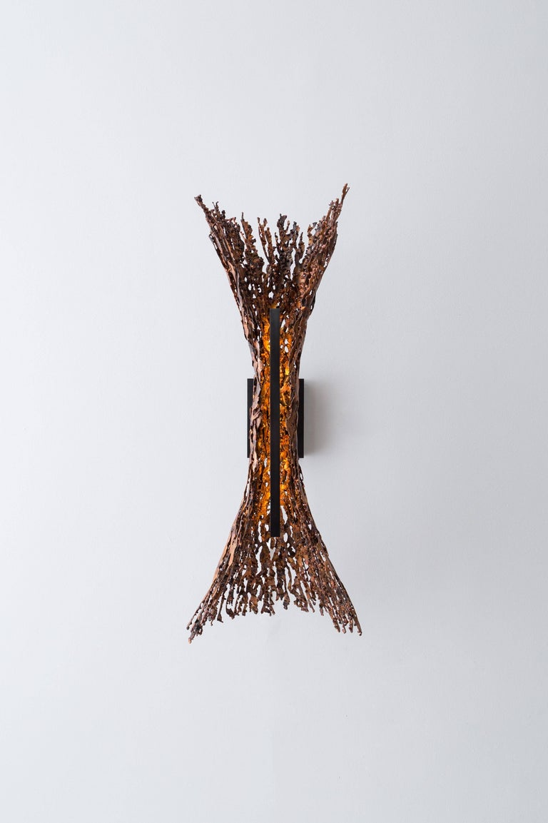 Modern Burnt Copper Form Sconce, Spreading, Wall Sculpture For Sale