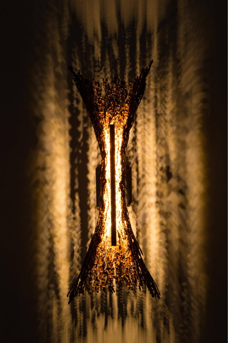 Welded Burnt Copper Form Sconce, Spreading, Wall Sculpture For Sale