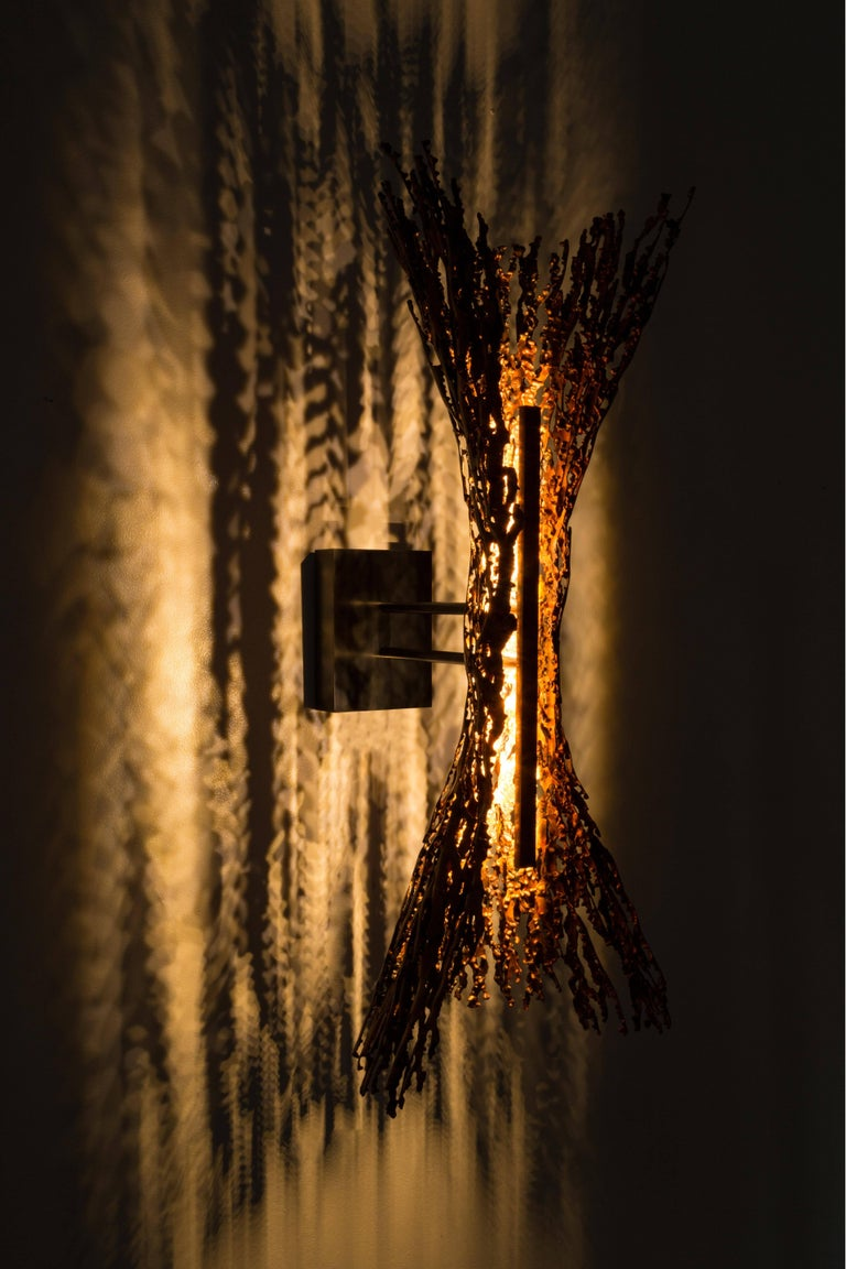Contemporary Burnt Copper Form Sconce, Spreading, Wall Sculpture For Sale