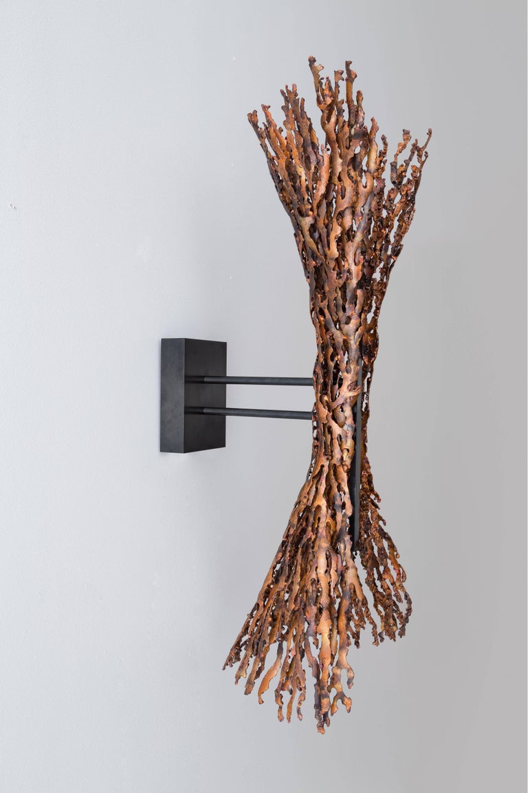 Burnt Copper Form Sconce, Spreading, Wall Sculpture For Sale 1