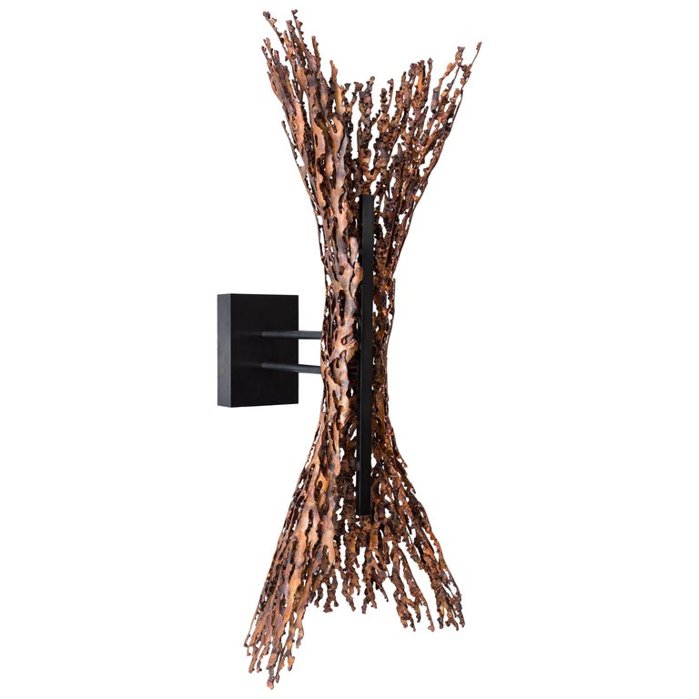 Burnt Copper Form Sconce, Spreading, Wall Sculpture For Sale