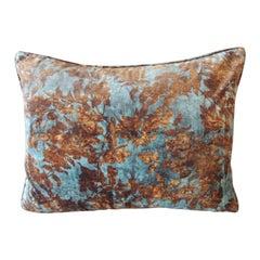Burnt Orange and Aqua Velvet Modern Bolster Decorative Pillow