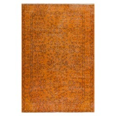 Burnt Orange Color Vintage Hand Knotted Turkish Rug