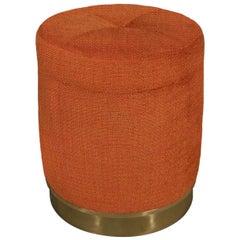 Burnt Orange Fabric Footstool