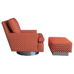 Burnt Orange Geometric Pattern Chrome Base Swivel Lounge Chair and Ottoman