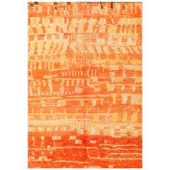 Burnt Orange Shaggy Vintage Moroccan Berber Rug. Size: 4 ft 6 in x 6 ft 6 in